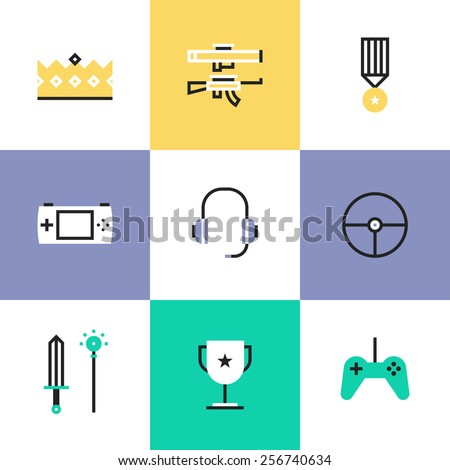 flat line icons of indie gaming