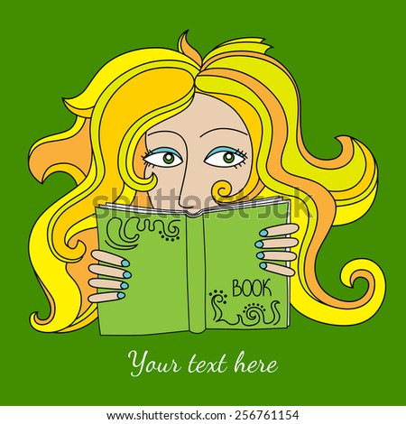 reading blonde girl with green
