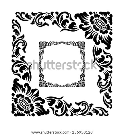 Black And White Floral Corner Clip Art Free Vector Download 219630