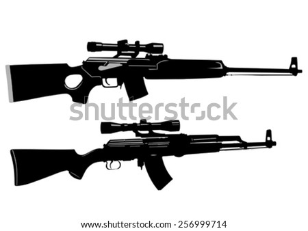 modern automatic weapons on a
