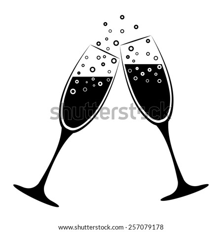 two champagne glasses vector