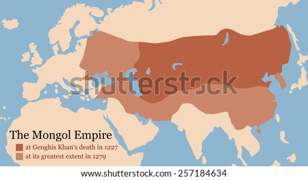 mongol empire map at genghis