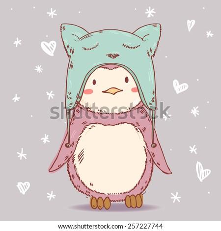 cute cartoon penguin in winter