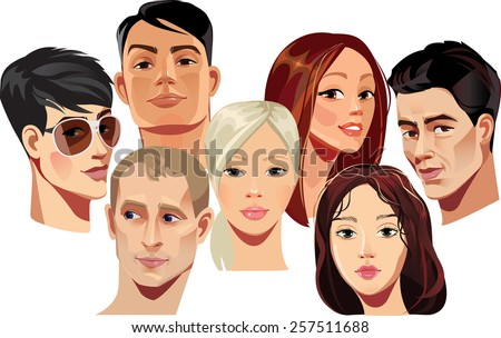 vector portraits of faces of