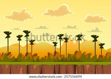 seamless cartoon tropical