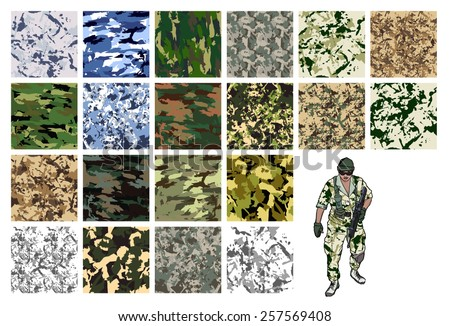camouflage set  vector fabric