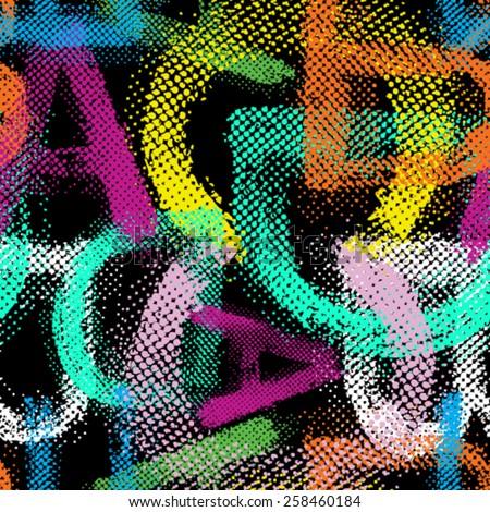 vector grunge halftone alphabet
