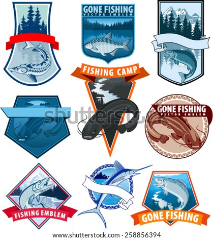 set of vector fishing emblem