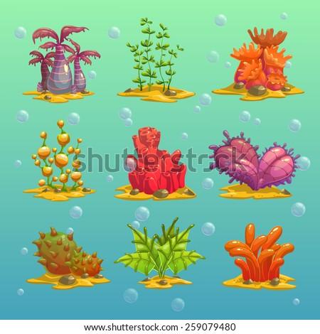 cartoon algae  isolated