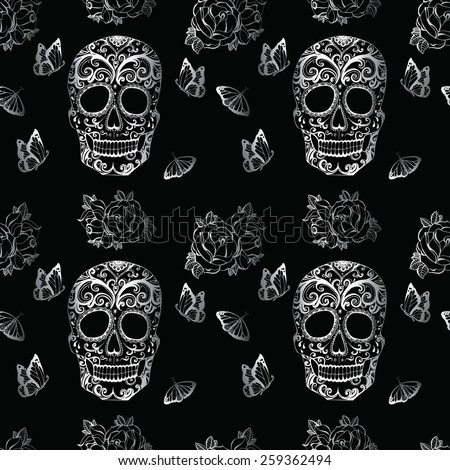 skull pattern with butterflies