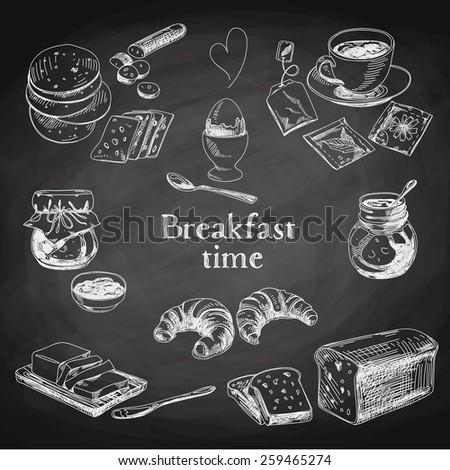 vector breakfast hand drawn set