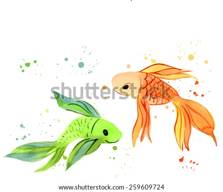 fish watercolor isolated on a