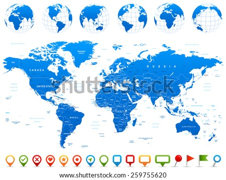 world map  globes  continents