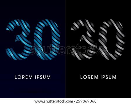 30  number  modern wave  font