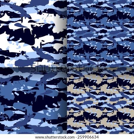 set of 4 fashion camouflage