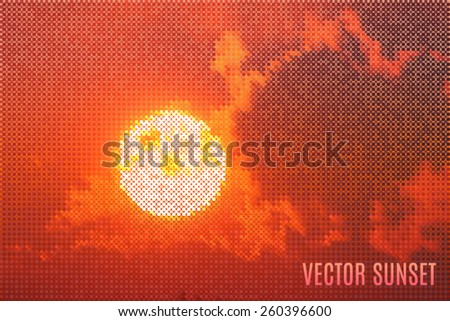 spectacular sunset made of tiny