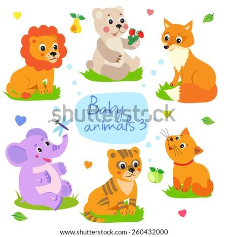 baby animals lion  bear  fox
