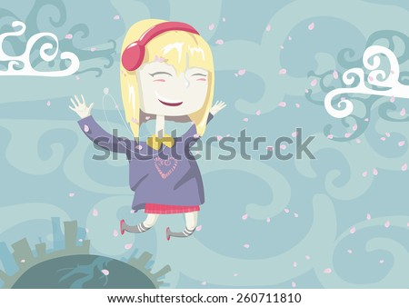 vector illustration of a girl