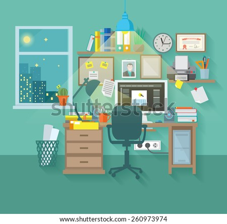 workspace in room interior with