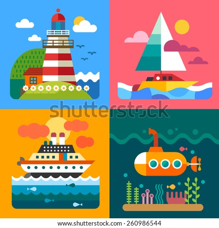 different sea landscapes