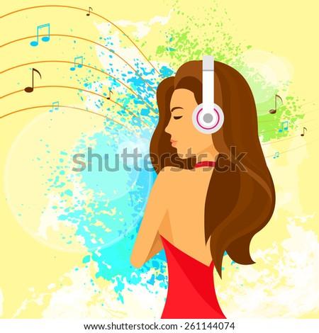 woman headphones listen to