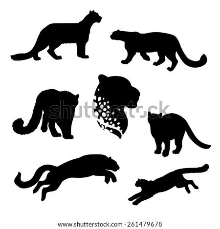 snow leopard set of silhouettes