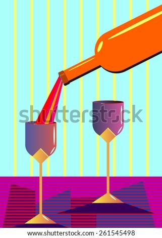 wine glass alcohol bottle drink