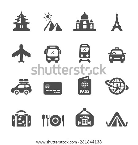 travel and vacation icon set 3