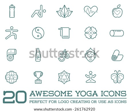 set of vector yoga zen sport