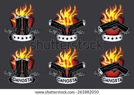 glock pistol fire background