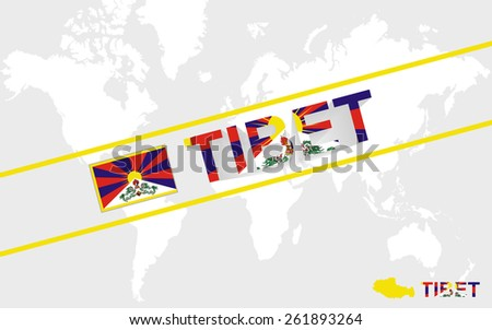 tibet map flag and text