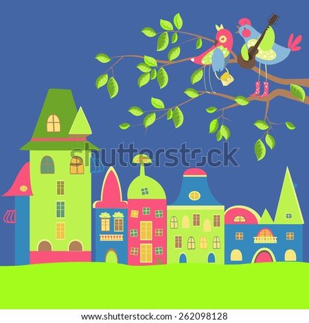 spring cityscape with birds in