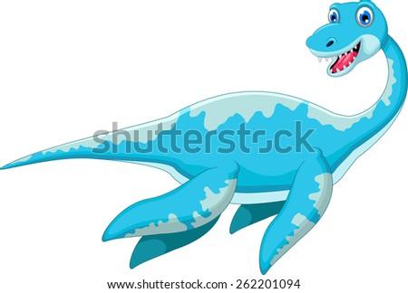 swimming dinosaur cartoon