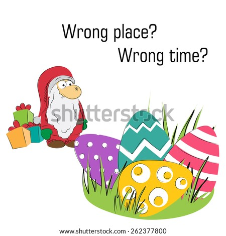 lost santa with easter eggs