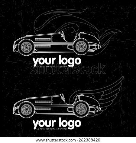 contour vector retro racing car