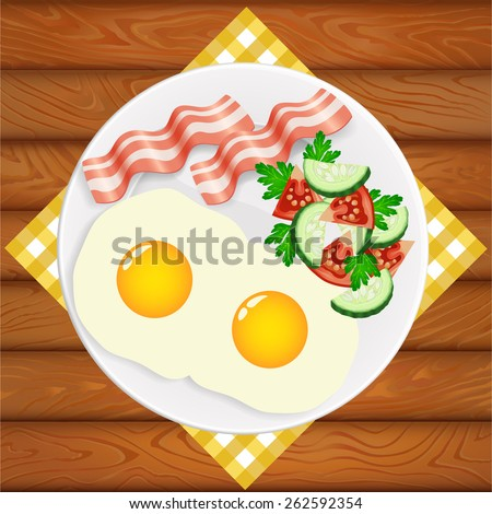 freshly cooked eggs with salad