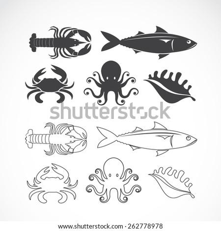 vector set of seafood symbols