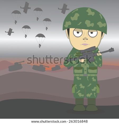 vector cartoon soldier