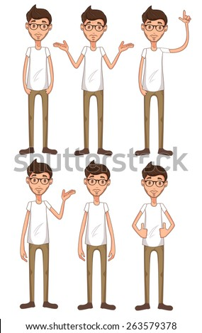 vector young man character set