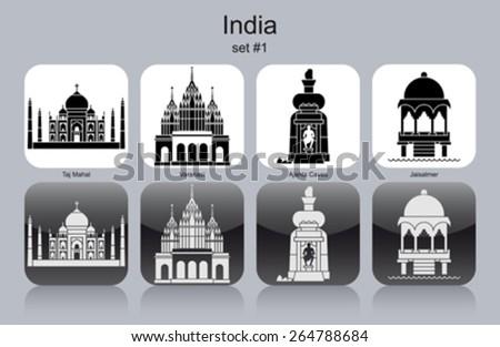 landmarks of india set of