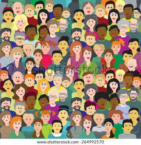 vector seamless pattern crowd