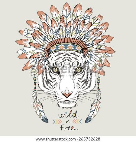 tiger in war bonnet  hand drawn