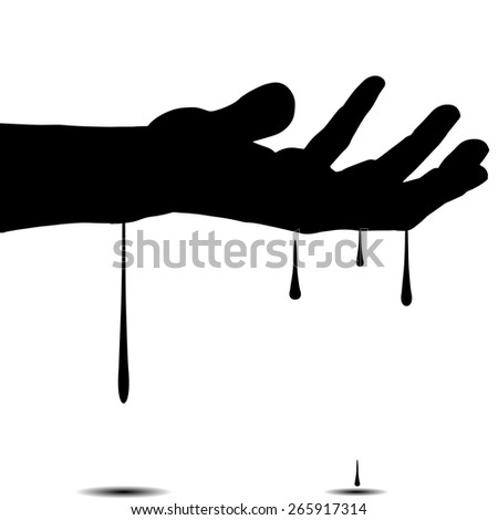 vector silhouettes of hand on