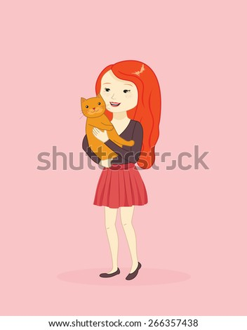 cute girl holding a cat  vector