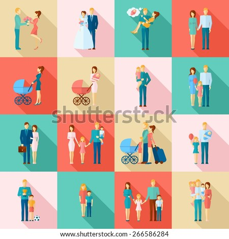 family flat icons set with