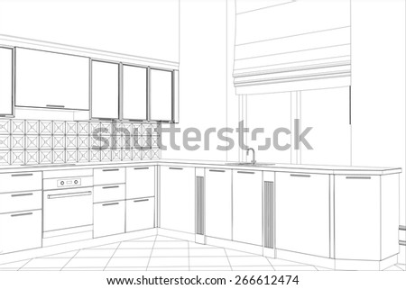 facade kitchen vector sketch