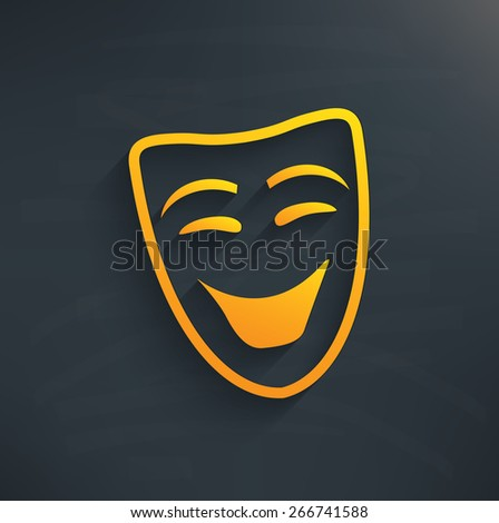 smile mask on blackboard