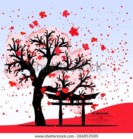vector japan sakura and torii
