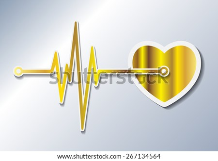 abstract dark gold heart beats