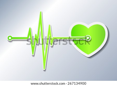 abstract dark green heart beats